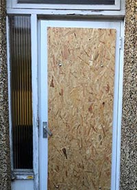 Board up smashed door London north west
